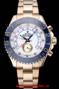 Rolex Replica Yachtmaster II White Dial Blue Bezel Gold Bracelet 622271